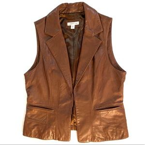 Coldwater Creek brown leather vest w/ single clasp